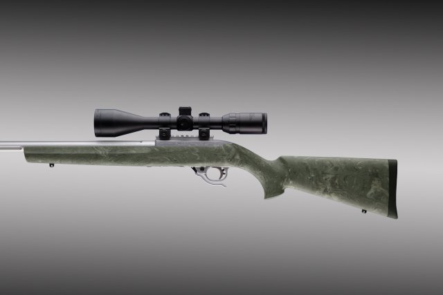 10-22 .920 Diameter Barrel Ghillie Green Rubber OverMolded Stock